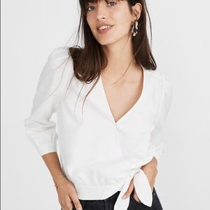 Madewell Wrap Top in Pure a White Sz L EUC cotton